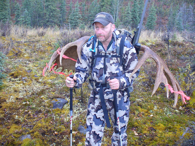 Steve Boswell packing out Alaskan Moose